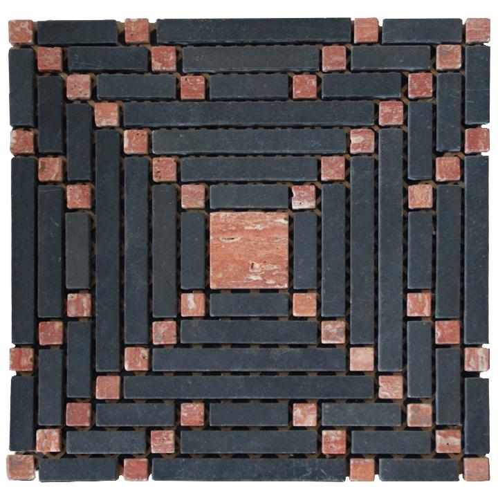 Macedonian Black, Travertino Red mozaika kamienna