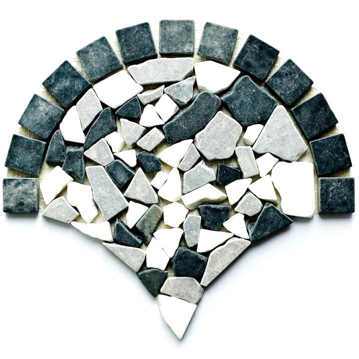 Thassos Snow White, Macedonian Black, Creta Grey  mozaika kamienna
