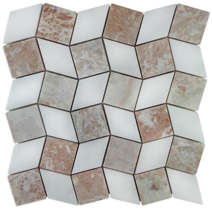 Desert Pink, Thassos Snow White mozaika kamienna