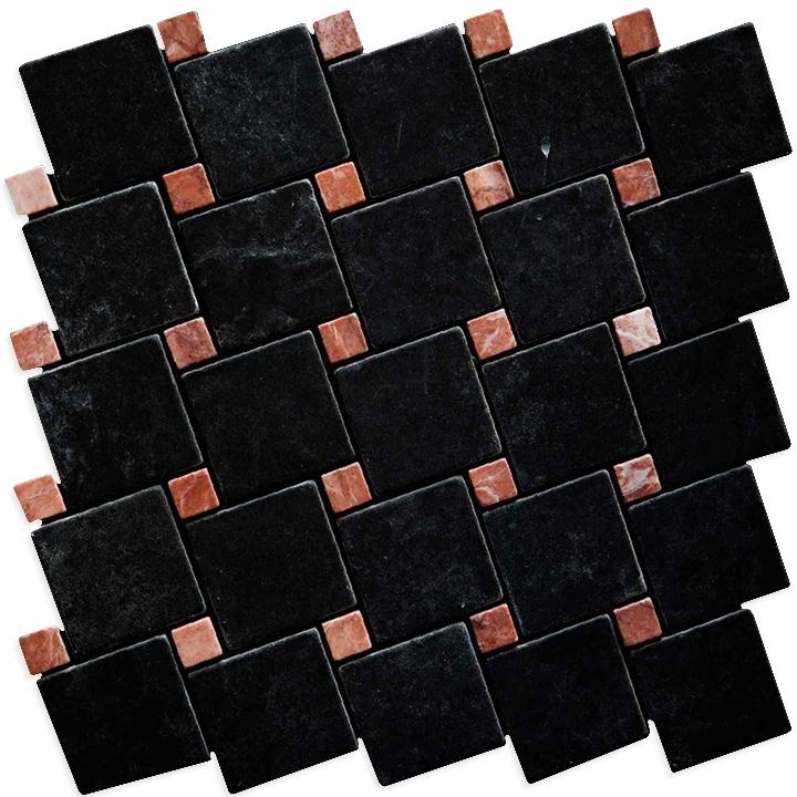 Macedonian Black, Ritsona Red  mozaika kamienna