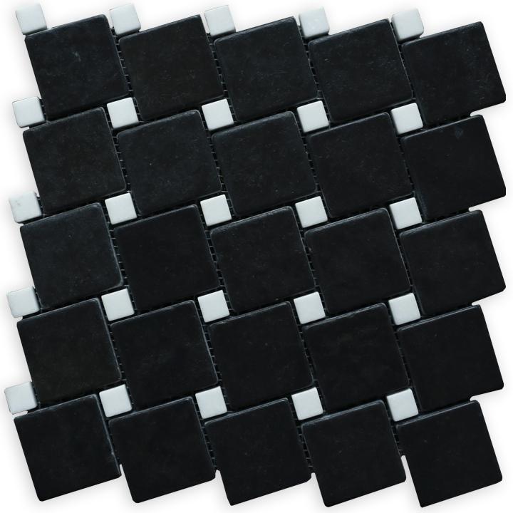 Macedonian Black, Thassos S. White mozaika kamienna