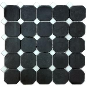Macedonian Black, Kavala Semi White mozaika kamienna