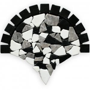 Macedonian Black, Creta Grey, Thassos S. White  mozaika kamienna