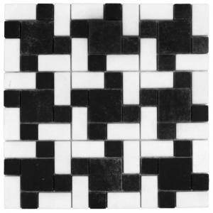 Macedonian Black, Thassos Snow White mozaika kamienna
